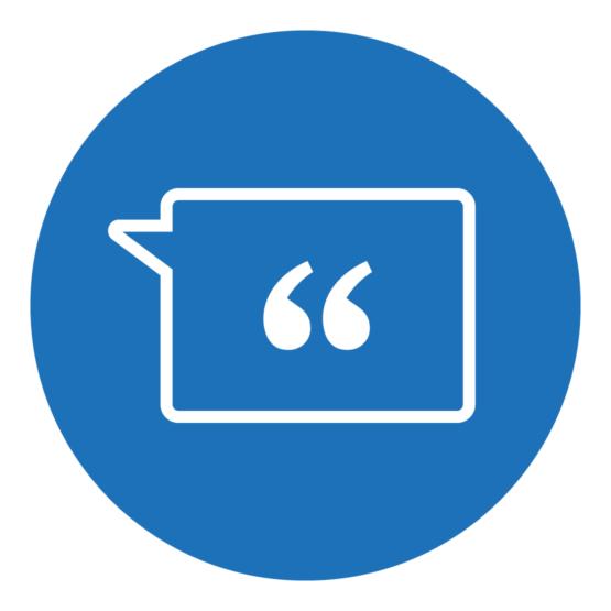 Icon, das eine Sprechblase mit Anführungsstrichen zeigt