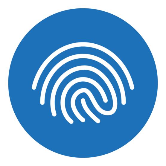 Icon, das einen stilisierten Fingerabdruck zeigt