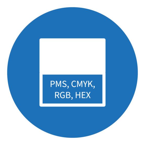 Icon, das synonym für Farbe steht und verschiedene Farbsysteme zeigt