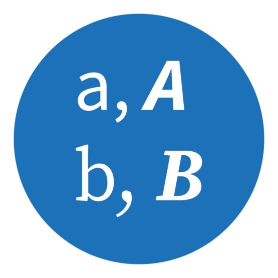Icon, das einzelne Buchstaben zeigt