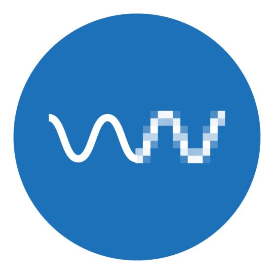 Icon, das schematisch eine Welle in Vektor- und Pixelumsetzung zeigt