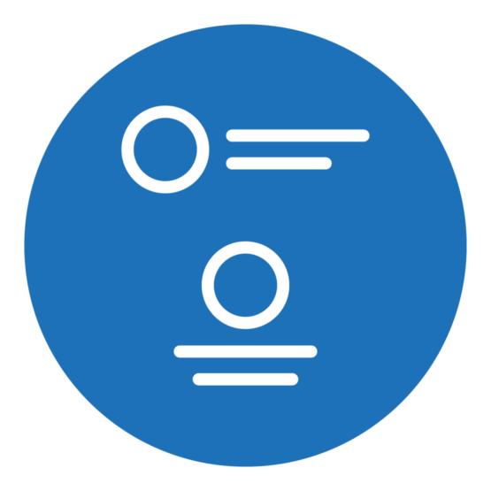 Icon, das eine stilisierte Wort-/Bildmarke mit verschiedenen Positionierungen zeigt