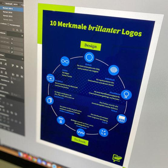 Bild eines Computermonitors, auf dem eine Datei mit dem Namen 10 Merkmale eines brillanten Logos geöffnet ist